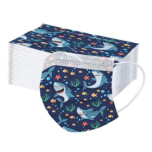 LAOLUO 50 Stück Kinder Einweg Bunt Bedruckt 3-lagig Baumwolle Mund und Nasenschutz Bandanas Balaclava Atmungsaktiv für Jungen und Mädchen