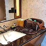 Elviros Kulturbeutel PU-Leder für Herren große wasserdichte Reise-Kulturtasche Waschtasche im Bade Kosmetiktasche mit einem Nass-Trockenbeutel, Braun - 4