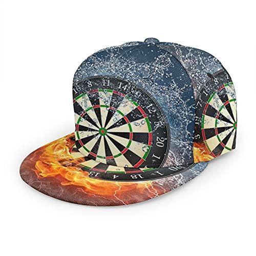 LAOLUCKY Unisex Klassische Baseballkappe Flatbrim Snapback Cap Trucker Hat Hip Hop Dad Hat Gr. One size, Flame Water Smoke Thunder Target Dartpfeile, Schwarz
