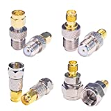Goupchn F Type to SMA Connector Kit 8PCS Male Female RF Coax Coaxial Adapter Coupler Converter