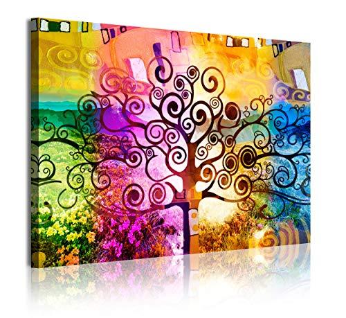 DekoArte - Cuadros Modernos Impresión de Imagen Artística Digitalizada | Lienzo Decorativo Para Tu Salón o Dormitorio | Estilo Abstractos Arte Árbol de la Vida de Gustav Klimt | Piezas 120 x 80 cm