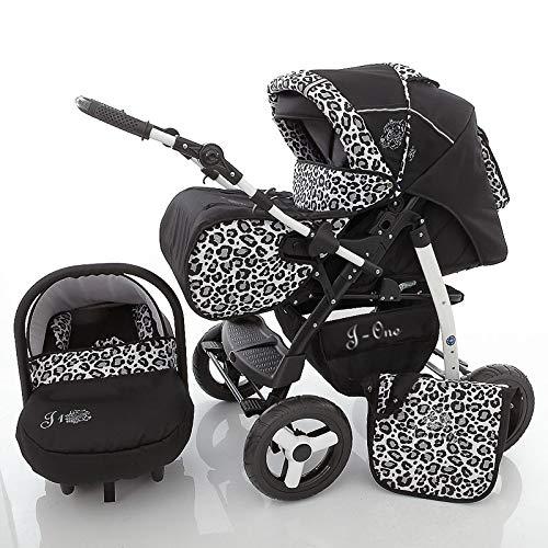 Poussette Combinée Trio landau 2en1 3en1 Isofix siège Auto Jag-Cat by SaintBaby noir & léopard des neiges 2en1 sans siège bébé