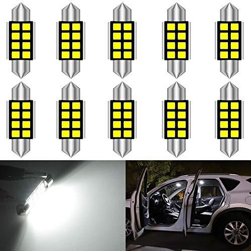 KATUR 36mm 6418 6461 LED Super Brillante 5630 Chipsets CanBus de Aluminio Festoon sin Errores Mapa del Interior de la Puerta del Coche Luces de Techo Xenón Blanco 12V Paquete de 10