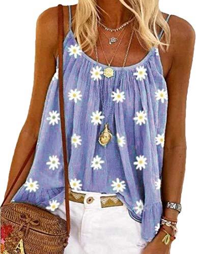 GRMO Women's Sleeveless Floral Print Spaghetti Strap Flare Sexy T-Shirt Tank Tops Blouse One US XL
