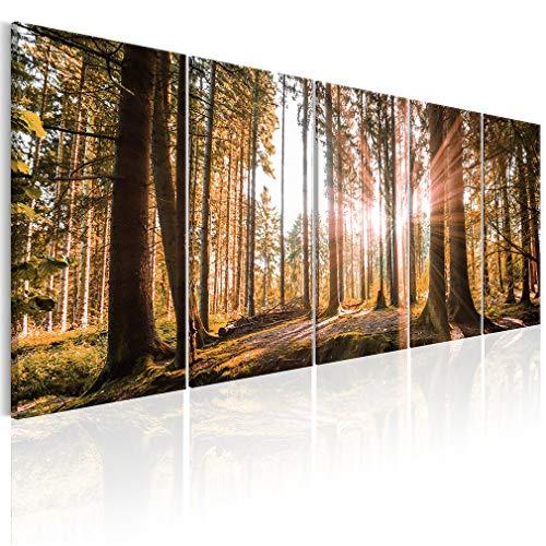 decomonkey Bilder Wald 225x90 cm XXL 5 Teilig Leinwandbilder Bild auf Leinwand Wandbild Kunstdruck Wanddeko Wand Wohnzimmer Wanddekoration Deko Natur Landschaft