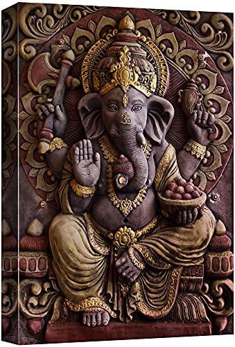 wall26 - Sculpture of Gannesa Hindu God - Canvas Art Wall Art - 24' x 36'
