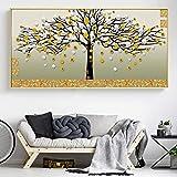 ganlanshu Cartel Abstracto Abstracto Moderno árbol de Dinero de Oro Sala de Estar decoración del hogar Arte de la Pared,Pintura sin Marco,60X120cm
