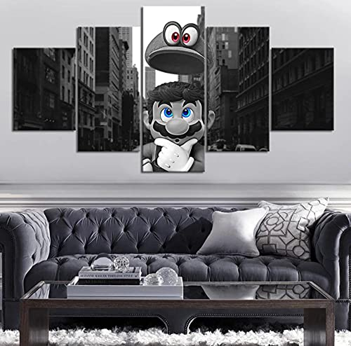 5 paneles de póster de videojuegos Super Mario figura de juego cuadro de arte de pared decoración de pared pegatinahabitación lienzo arte pintura de pared 150x80cm con marco