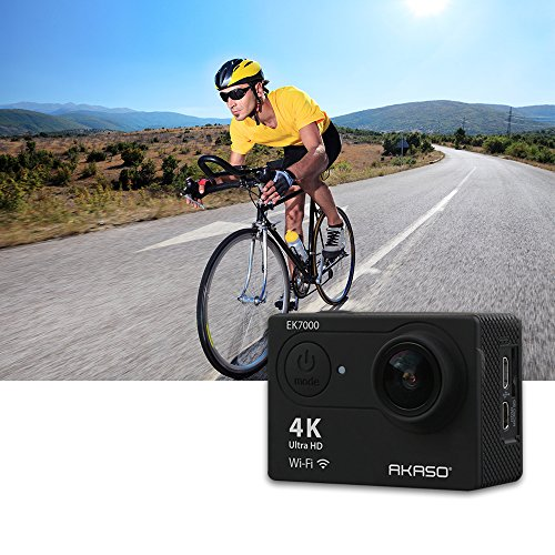 AKASO EK7000 4K Action Camera WIFI Ultra HD Waterproof Sports DV Camcorder 12MP 170 Degree Wide Angle 2 inch LCD Screen/2.4G Remote/2 Rechargeable Batteries/19 Mounting Kits-Black (2017 Version)