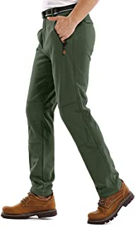 Hiking Pants Mens,Waterproof Fleece Ski Snow Insulated Soft Shell Pants