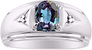 RYLOS Mens Classic Oval Blue Star Sapphire & Genuine Sparkling Diamond Ring in Sterling Silver .925-8X6MM Color Stone