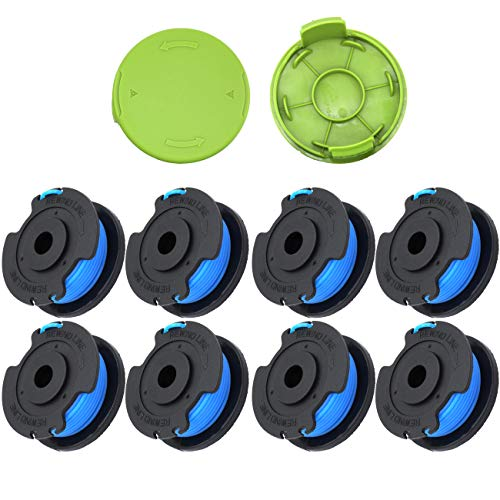 Trimmer Replacement Spool 29092 Compatible with Greenworks Weed Eater String 24V and 40V Cordless Edger Spool Refills Parts, 0.065 inch greenworks trimmer string replacement Line (8 Packs Plus 2 Cap)