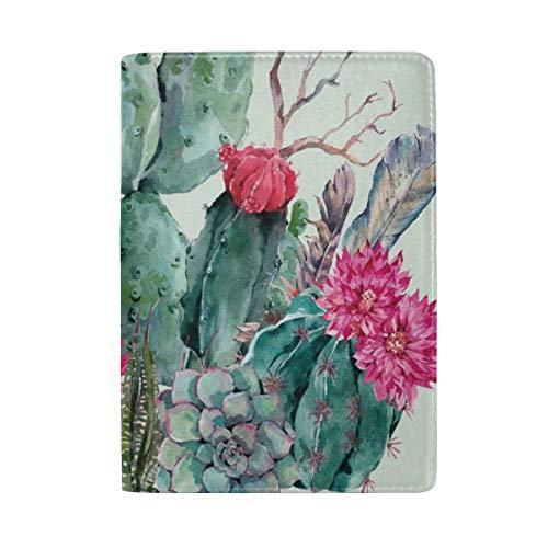 Kaktus Boho Stil Blumenstrauß von Thorny Pflanzen Blüten Pfeile Federn Tragbare Leder Reisepass-Etui Tasche für Reisegepäck 1 Tasche