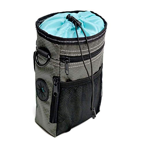 OCSOSO - Sac à friandises pour chien - Pour le dressage, le transport des friandises et des jouets, distributeur de sacs à déjections intégrés, ceinture réglable et ceinture d'épaule (gris foncé)