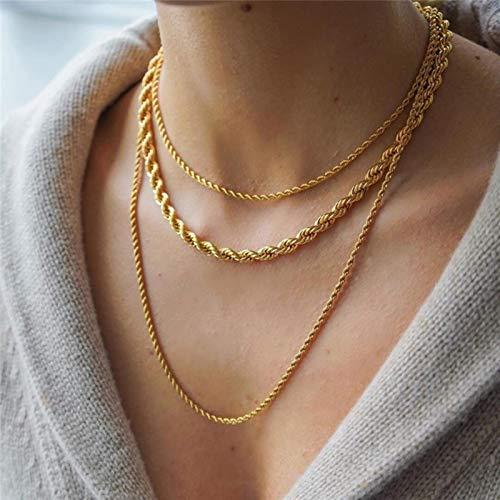 Peri\'sBox Gold Farbe Twisted Rope Chain Halsketten Chunky Wide Thin Chains Halsketten für Frauen Minimalist Halskette