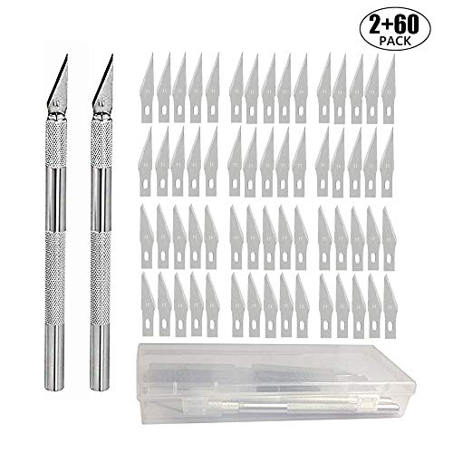JOQINEER Precision Carving Craft Messer Set 60 Ersatzklingen Skalpell Schnitzmesser für DIY Art Work Cutting (2+60)