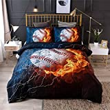 A Nice Night Baseball with Fire Print Comforter Quilt Set Bedding Sets for Teen Boys (Baseball,Full Size)