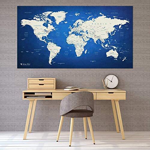 Itchy Feet Weltkarte XXL 130 x 70 cm Zum Pinnen, World Map Aus Edlem Vlies Als Pinnwand Mit 20 Pins/Fähnchen… (Blau)