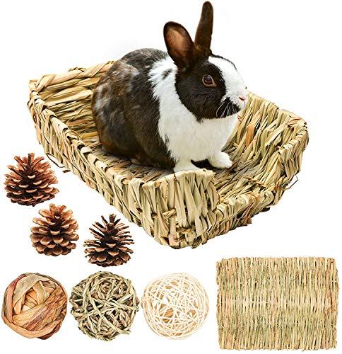 ELEpure Nido de Hierba de Conejo Alfombra de Hierba de Conejo, Bola de Hierba Juguete Accesorios de Cama, Cama de Hierba Nido de Hierba para Hámster Conejo Chinchilla Conejillo de Indias