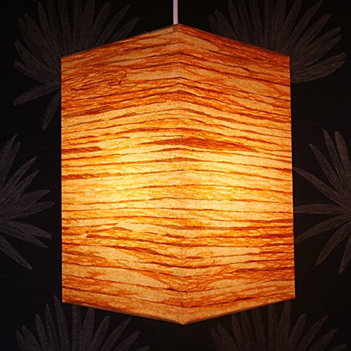 Lámpara de Techo de Papel de Arroz Hecho a Mano Diseño de Grano de Madera Decoración Original de Dormitorio