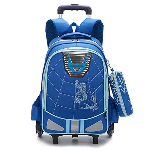MYYLY Borsa Trolley per Bambini Spiderman Borsa per Bambini Borsa Leggera in Tela Bookbags Ragazze Superhero Schoolbag Ragazzi School Outdoor Daypack Zaino Unisex,Blue-2 Wheel(36X16X45CM)
