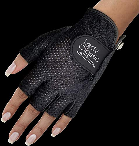 New Lady Classic MESH Half Glove with Premium CABRETTA Leather ON Palm Worn ON Left Hand (Black/Black, Medium)