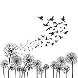 YXHZVON Negro Diente De León Pegatinas de Pared 133 x 133 cm, Vinilos Decorativo Pájaro Negro, Pegatina de pared Flores Para Sala de Estar Dormitorio Baño Cocina y Ventanas Calcomanías