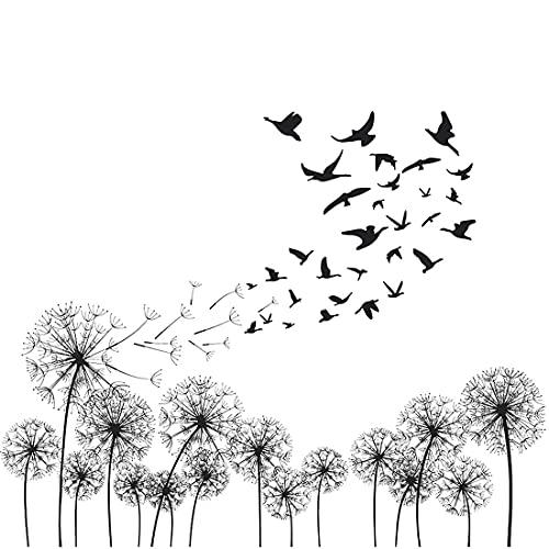Negro Diente De León Pegatinas de Pared, Vinilos Decorativo Pájaro Negro, Pegatina de pared Flores Para Sala de Estar Dormitorio Baño Cocina y Ventanas Calcomanías