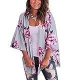 Cárdigan para Mujer Corto Cover Up para Playa Estampado Floral Estilo Bohemio Kimono Talla Grande de Mujer para Verano Vacaciones (Gris, XXL)