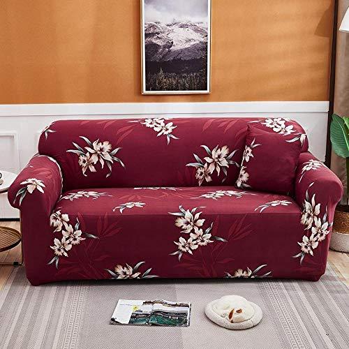 Funda de sofá de 1 Plazas Funda Elástica para Sofá Poliéster Suave Sofá Funda sofá Antideslizante Protector Cubierta de Muebles Elástica Patrón de Flor roja Funda de sofá