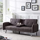 Merax Mini Futon Bed Couch, Modern Sofa Sleeper Design for Living Room or Bedroom, Including Metal Legs and Upholstery Sofabed, 74.8', Light Brown