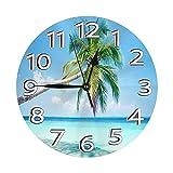 Reloj de Pared Redondo Reloj de Escritorio Moderno Reloj Colgante clásico Que no Hace tictac para la Oficina de la Escuela en casa,Lobo Luna Cielo Nocturno Starry Sky