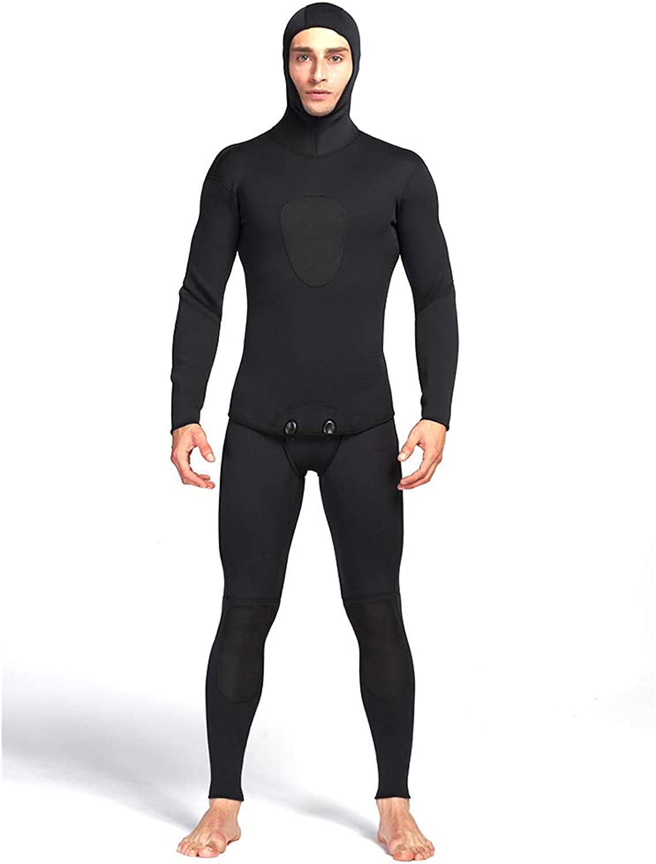 ZUKN Men's Wetsuit, 3mm Neoprene stretch Swimsuit,Split Diving Suit Hoodie Snorkeling Surf Suit for Scuba Diving Surfing Kayaking Swimming