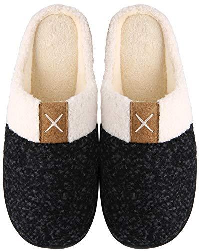 Mishansha Zapatillas de Estar en Casa Hombre Mujer, Zapatillas Casa Memory Foam para Invierno Otoño, Cómodas/Blanditas/Mulliditas y Calientes(Negro, 44/45)