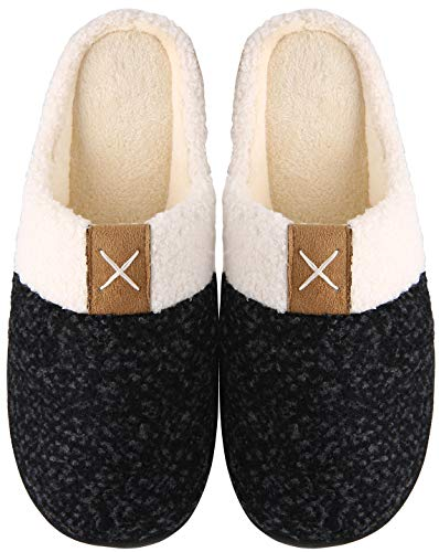 Mishansha Memory Foam Hausschuhe Herren Damen Winter Pantoffeln Wärme Plüsch Leicht Weich rutschfeste Harte Sohle Indoor & Outdoor Slippers für Frauen Männer(Schwarz, 42/43 (Herstellergröße 290 mm))