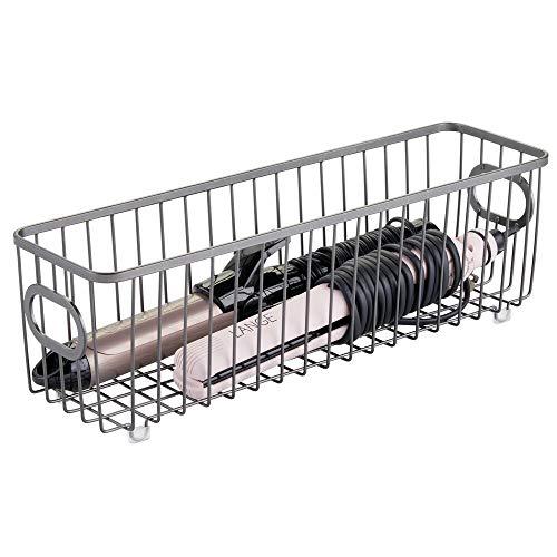 mDesign Contenitore con maniglie integrate – Organizer da bagno in filo metallico – Pratico cesto per cosmetici, accessori bagno e asciugamani – grigio scuro