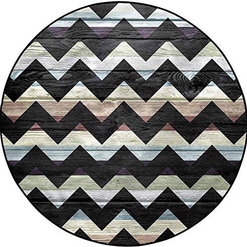 Geometric Modern Trellis Area Rug Carpet Decor for Bedrooms, Dining Rooms Retro Art Black Chevron Diameter 43.3 in(110cm)