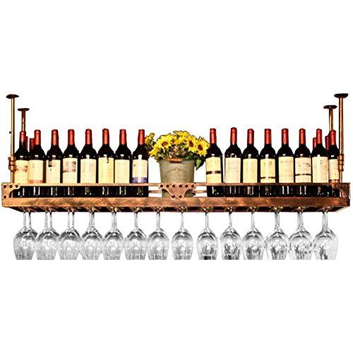 JBNJV Estantes para Vino de Altura Ajustable, Soporte para Botella de Vino Colgante para Montaje en el Techo, Estante para Copas de Vino de Hierro de Metal, estantes para Copas, latón, 80X35CM