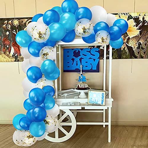 Yisscen Guirnalda de Globos Azul y Blanca Kit de Arco de Globos de látex de 72 piezas para Fiestas de Cumpleaños de Boda Fiestas Temáticas de Comunión Fiestas Infantiles Globos de Baby Shower
