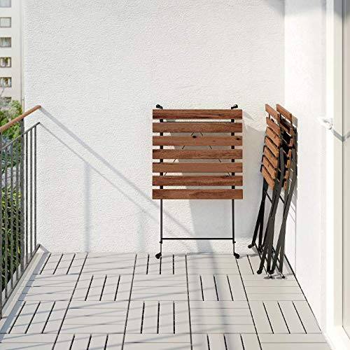 TÄRNÖ Table+2 chairs, outdoor, black acacia, steel grey-brown stained