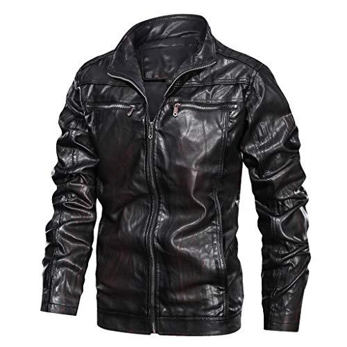 Daysing Lederjacke Herren Winter Warmer Slim Fit,Männer Bikerjacke Winterjacke Mode Cool Jacke eine Klassische Passform