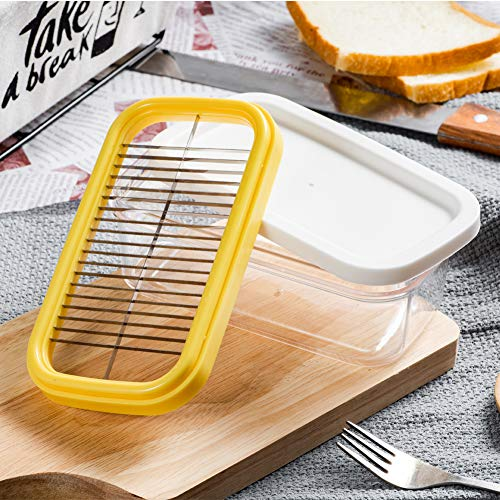 Homeditor Plastic Butter Dish With Sealed Lid and Slicer for Easy Cutting and Storage, BPA Free Butter Box For Refrigerate, 2 In 1 Clear Butter Container, Suitable For 8 oz or Two 4 oz Sticks Butter