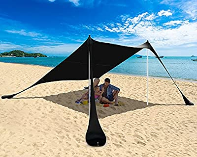 PETNOZ Beach Tent Canopy Sun Shade UPF50+, Easy Pop Up Anti-Wind Sun Shelter with Stability Poles/Carry Bag/Ground Pegs/Sand Shovel, Portable Sunshade for Beach Camping (Black, 7.5×7.5 FT 2 Pole)
