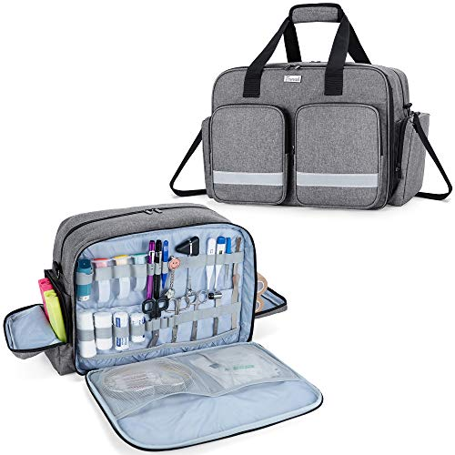 Trunab Medizinische Tasche Leer Grau, Tasche für Krankenschwester Professionelle Schultertasche Arzttasche Rettungstasche mit Gepolsterter Laptop-Schicht, Home Nurse Case