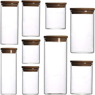 AWAING Bocaux Pot en verre de stockage, cuisine avec des contenants en bambou Couvercle Marque Il Airtight Rangement et Or...