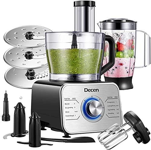 Decen Küchenmaschine Multifunktional, 1100W Food Processor mit 3 Geschwindigkeit Elektrische Reibe und 3,5 L Arbeitsbehälter inkl Zerkleinerer, Standmixer, Knethaken, Mixer, Silber