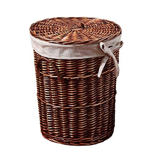 Pot Cesta de lavandería rectangular grande, con forro de ratán, para guardar la colada circular, con cubierta de cubo, hermosa y práctica, incluye forro de lino lavable a máquina (tamaño: L)