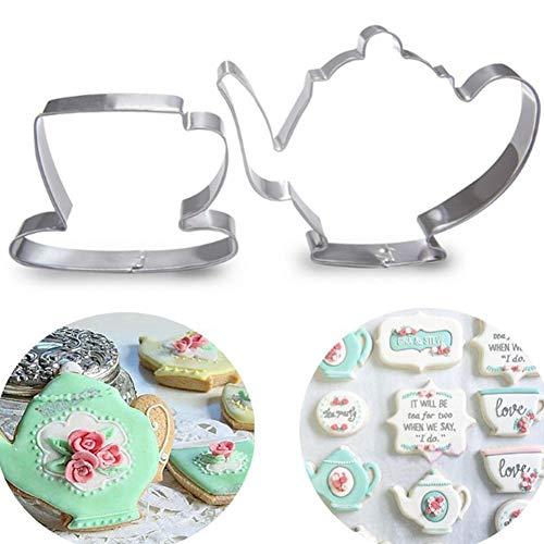 Dorime 2ST Teekanne Tee-Schalen-Set Ausstecher Edelstahl-Fondant-Kuchen-Form-Werkzeug
