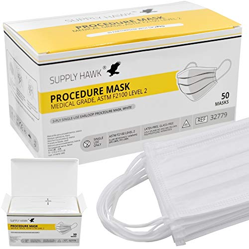 Highly Breathable Medical Grade 3-Ply Procedure Masks ASTM F2100 Level 2 (Box of 50)