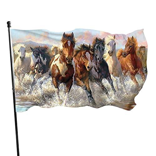 GOSMAO Bandera de jardín Caballo Corriendo Pintura al óleo Color Vivo y Resistente a la decoloración UV Bandera de Patio Cosida Doble Bandera de Temporada Bandera de Pared 3x5 pies